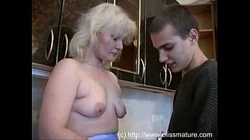 Russian mom and son fucking the kitchen